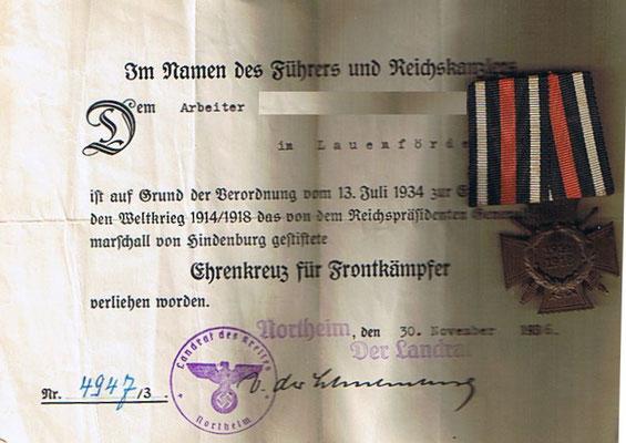Verdienstkreuz mit Urkunde