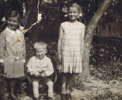 Kinderschule 1930 Irmgard, Karl und Elfriede Gauding