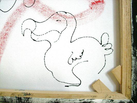 kleiner dicker Dodo auf Leinwandrückseite (Vorderseite siehe:grüner Dodo)