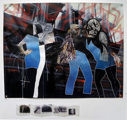 """""""Au mur"""", 2018, 90x110cm, technique mixte sur bâche imprimée et leporello en pvc, de la série """"Photo-graphisme""""."""