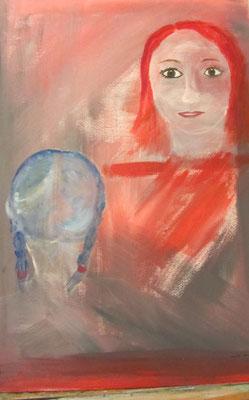 Gespräch, 2013, Acryl auf Leinwand, 50 x 70 cm