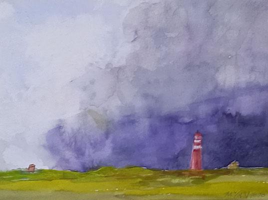 Roter Leuchtturm, 2020, Aquarell auf Papier, 20 X 24 cm