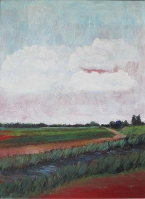 Am Bach, friesische Landschaft, 2016, Acryl auf Hartfaserplatte, 40 x 30 cm