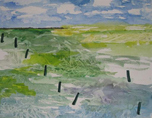 Küstenlandsschaft 1 , 2019, Aquarell auf Papier, 45 x 60 cm