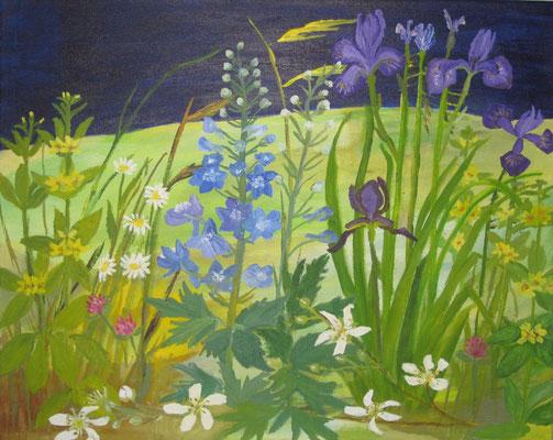 Buntes Gartenstück, 2018 Acryl auf Leinwand, 40 x 50 cm