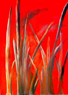 Baumstämme vor rote Mauer, 2014, Acryl auf Leinwand, 50 x 70 cm
