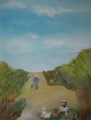 in den Dünen,,2018, Öl auf Leinwand, 120 x 90 cm