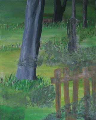Baum hinter Zaun, 2017, Acryl auf Leinwand, 40 x 50 cm