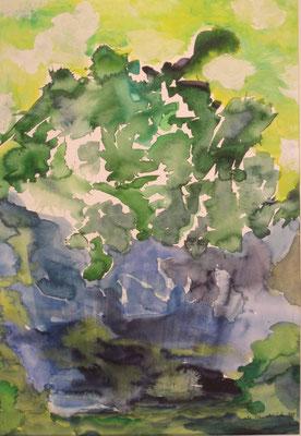 Grüne Pflanze, 2014, Acryl auf Papier, 50 x 60 cm