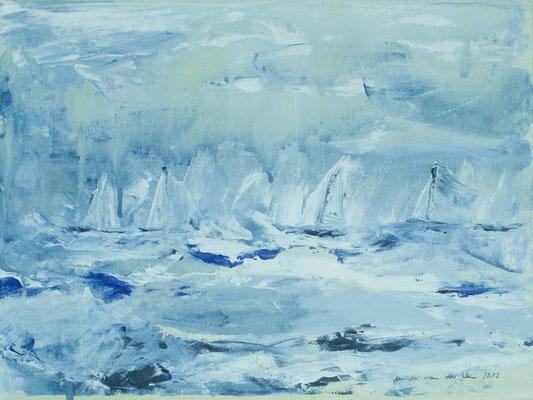 Segelschiffe im Eis, 2012, Acryl auf Leinwand, 40 x 30 cm