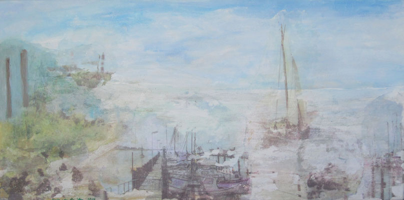 Im Hafen , Collage Aquarell auf Leinwand, 2017, Grüner Strand, 2019, Öl auf Leinwand, 40 x 50 cm30 x 60 cm