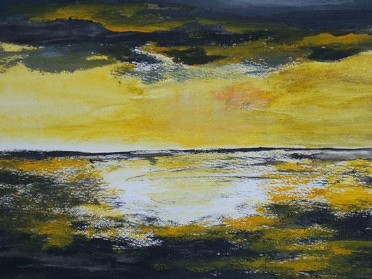 Sonnenuntergang, 2012, Acryl auf Papier, 40 x 30 cm