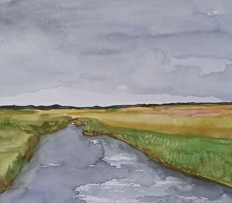Salzwiese, 2021, Aquarell auf Papier, 35 X 40 cm