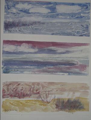Drei Landschaften am Meer, 2018, Acryl auf Papier, je 12,5 x 32 cm