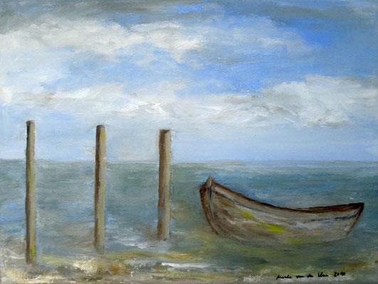 Drei Pfähle,2010, Acryl auf Leinwand, 30x40 cm