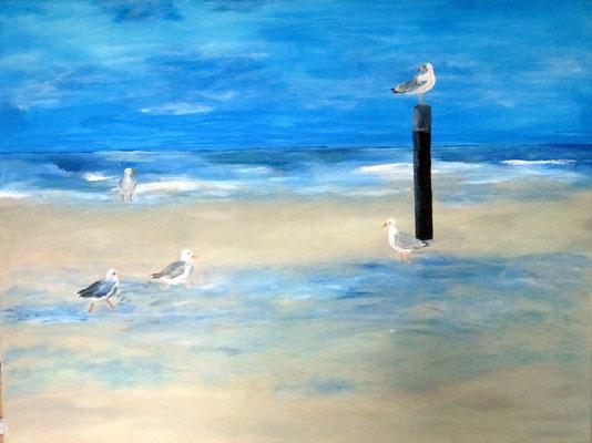 Möwen an der See, 2015, Acryl auf Leinwand, 60 x 80 cm