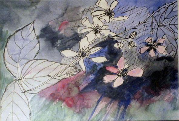 Brombeerzweig VI, 2015, Aquarell und Tusche auf Papier, 30 x 20 cm