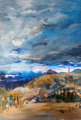 Der rote Leuchtturm, 2020, Acryl auf Leinwand, 100 x 70 cm