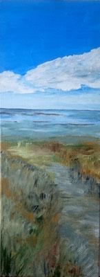 Weg zum Meer, 2019, Acryl auf Leinwand, 80 x 30 cm