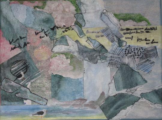 Flaschenpost, 2018, Collage, 30 x 40 cm