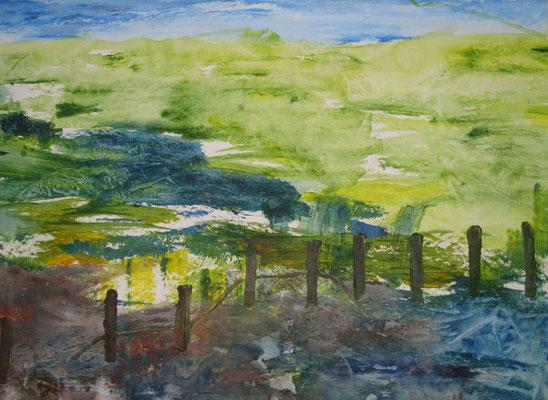 Blick auf Wiese, 2019, Acryl auf Papier, 40 x 50 cm