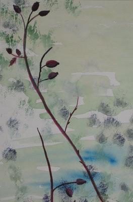 Hagebuttenzweig vor grünem Hintergrund, 2018, Aquarell auf Papier, 45 x 35 cm