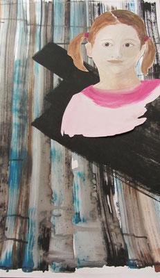 Mädchen, 2013, Collage, Acryl auf Papier, 50 x 70 cm