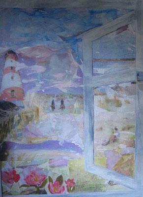 Blick auf Heckenrosen, 2016, Collage, Acryl auf Leinwand, 70 x 50 cm