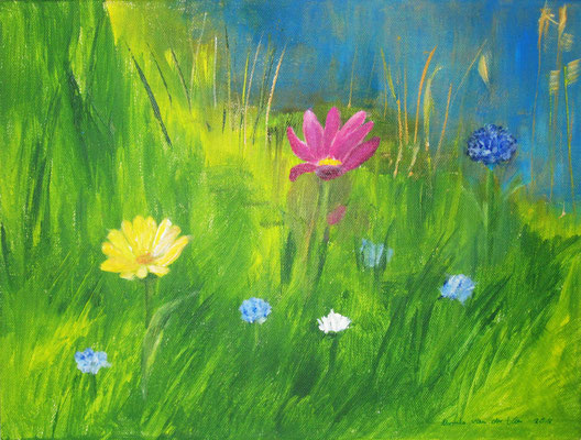 Blumen im Gras, 2016, Acryl auf Leinwand, 40 x 30 cm