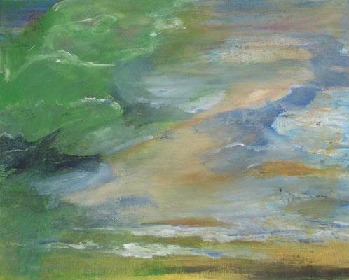 Grüner Strand, 2019, Öl auf Leinwand, 40 x 50 cm