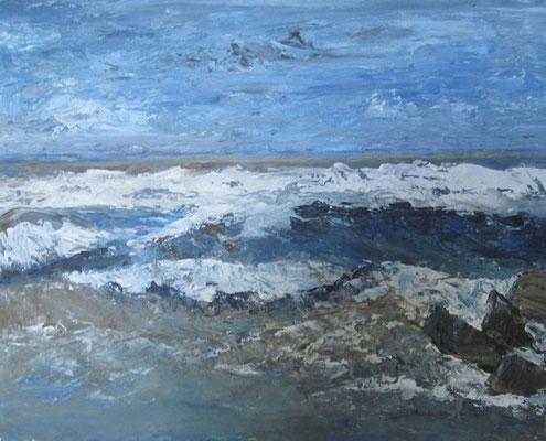 Anstürmende Wellen, 2017 Acryl auf Hartfaserplatte, 30 x 24 cm