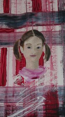 Mädchen mit Zöpfen, 2013, Collage, Acryl auf Papier, 50 x 70 cm