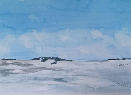 Weiter Strand, 2021, Aquarell auf Papier, 30 X 50 cm