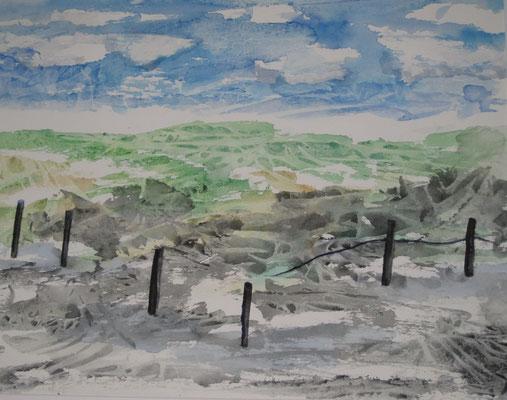 Küstenlandschaft 2, 2019, Aquarell auf Papier, 45 x 60 cm
