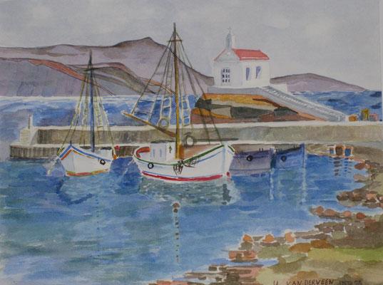 Hafen auf Kreta, 1996, Aquarell auf Papier, 20 x 18 cm