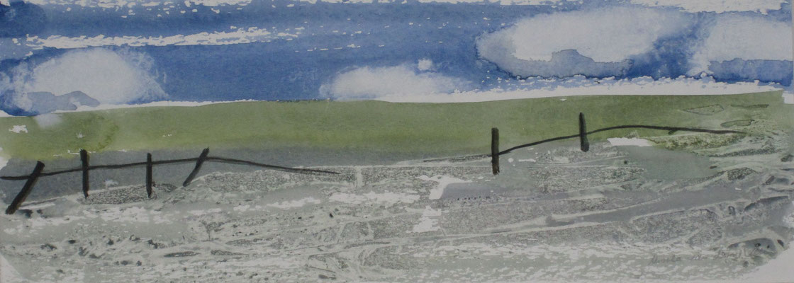 Alter Weidezaun, 2018, Aquarell auf Papier, 12 x 32 cm