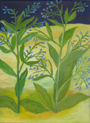 Blaue Gartenblume, 2018, Acryl auf Leinwand, 40 x 30 cm