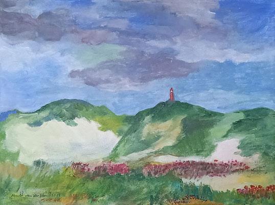 Rote Blumen am Leuchtturm, 2019,  Acryl auf Leinwand, 29,5 X 40 cm