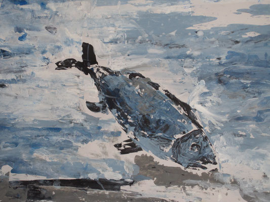 Gründelden Fisch, 2018,Acryl auf Leinwand, 40 x 50 cm