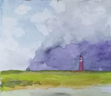 Leuchtturm IV, 2020, Aquarell auf Papier, 20,5 X 24,5 cm