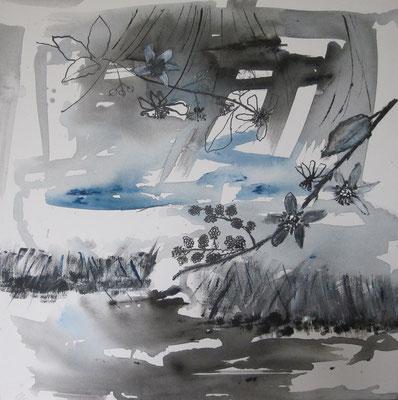 Brombeerzweig vor Wasserlandschaft, 2016, Aquarell und Tusche auf Leinwand, 50 x 50 cm