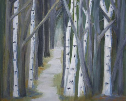 Weg durch den Birkenwald, 2011, Acryl auf Leinwand, 40 x 40 cm