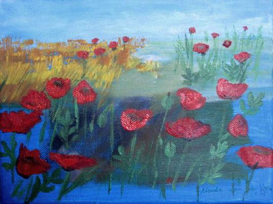 Mohn vor Getreidefeld, 2016, Acryl auf Leinwand, 24x18 cm