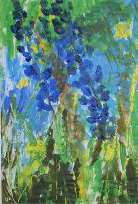 Blauer Rittersporn,2018 Acryl auf Papier, 41 x 30 cm