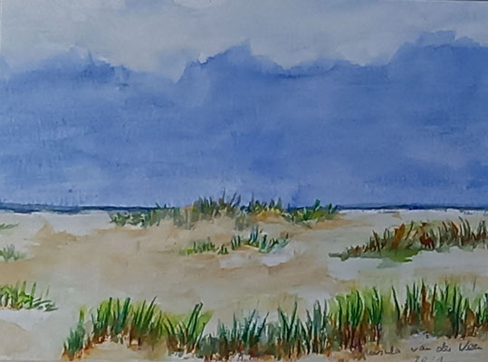 Strand, 2021, Aquarell auf Papier, 19,5 X 24 cm