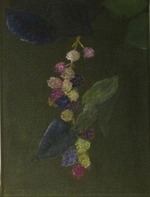 Brombeerzweig mit Früchten II, Acryl auf Leinwand, 18 x 24 cm