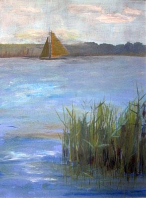 Segeln auf dem IJsselmeer, 2016, Acryl auf Hartfaserplatte, 40 x 30 cm