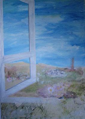 Blick durch ein Fenster, 2016, Collage, Acryl auf Leinwand, 70 x 50 cm