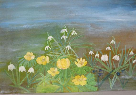 Winterlinge und Schneeglöckchen,2019, Acryl auf Papier, 40 x 60 cm