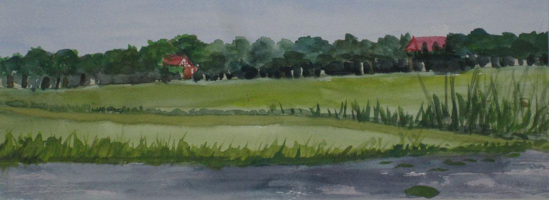Bauernhöfe am Wasser, 2018, Aquarell auf Papier, 12 x 32 cm